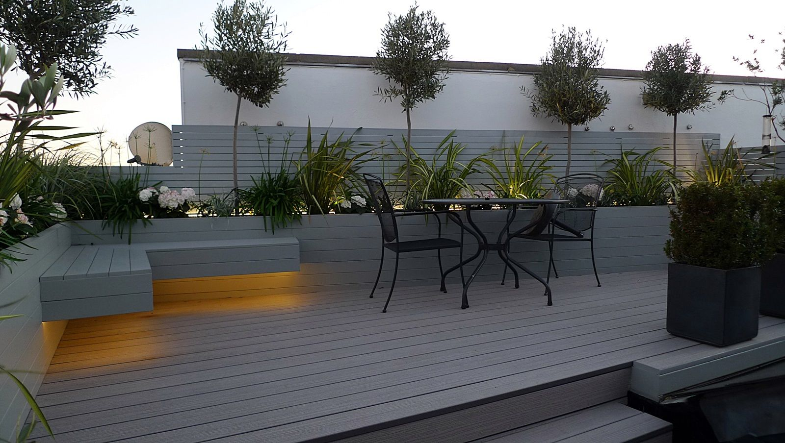 grey garden decking composite boards LED lights modern