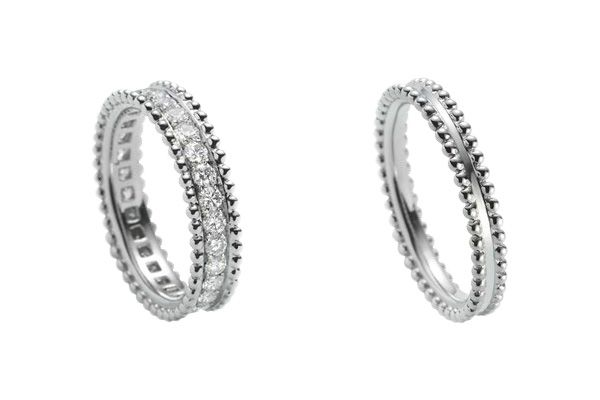 Beaded Platinum With Diamonds And Wedding Rings By Van Cleef Arpels