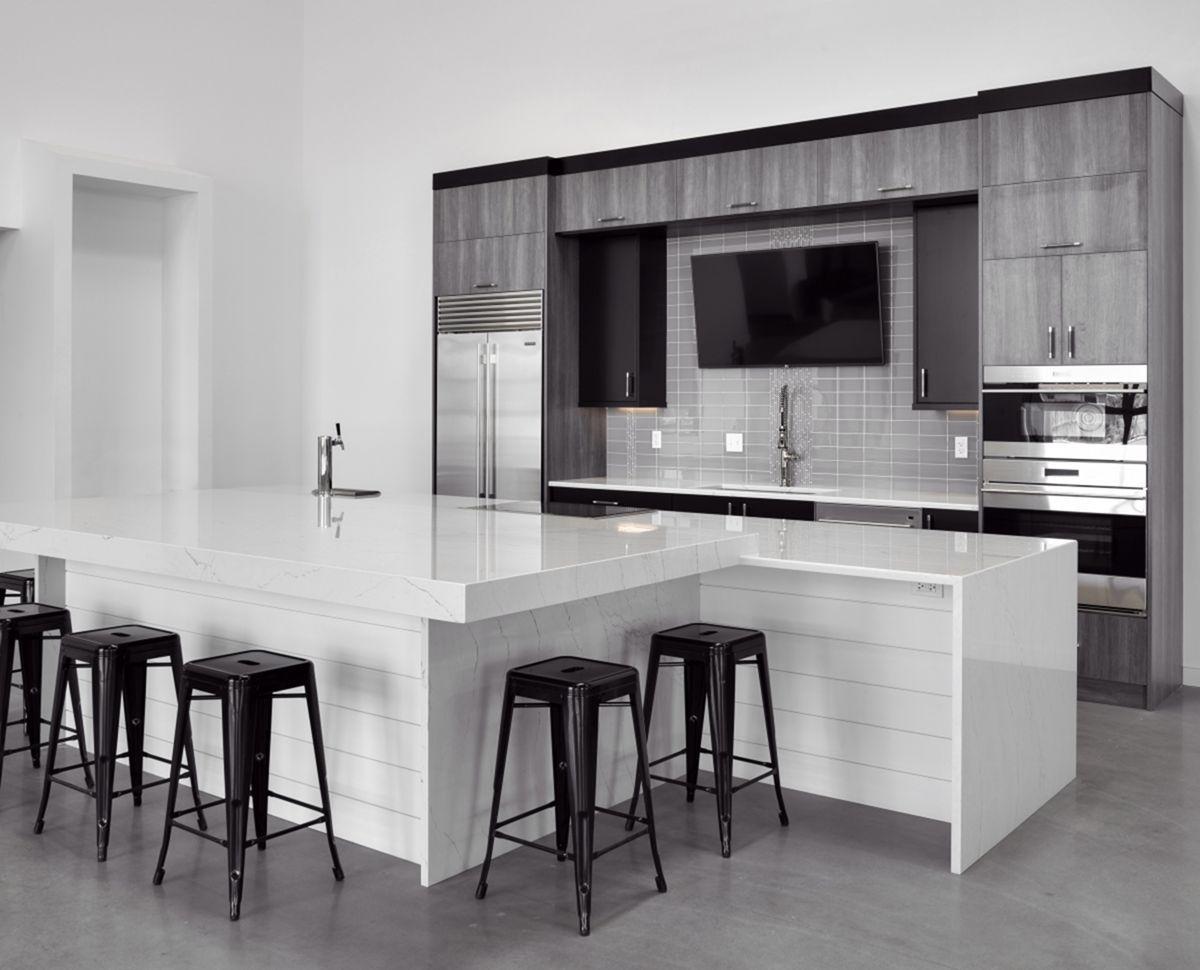 7 Fabulous Monochrome Kitchen Design Idea For A Minimalist Impression In A Kitchen Room Grey Kitchen Designs Black White Kitchen Modern Modern Kitchen Design