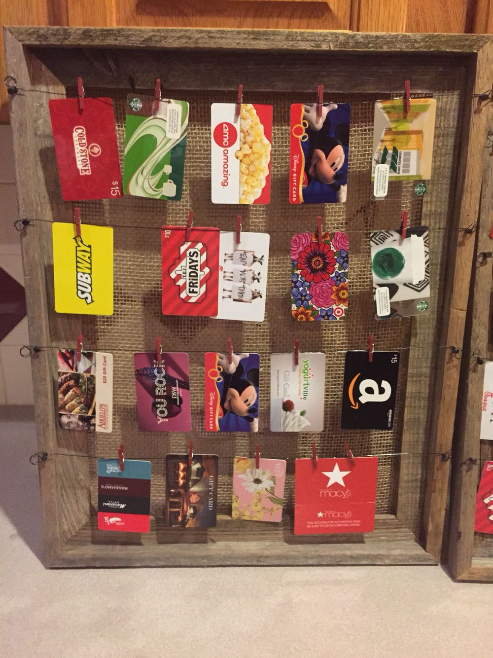 Coaches appreciation gift card display rustic giftcard