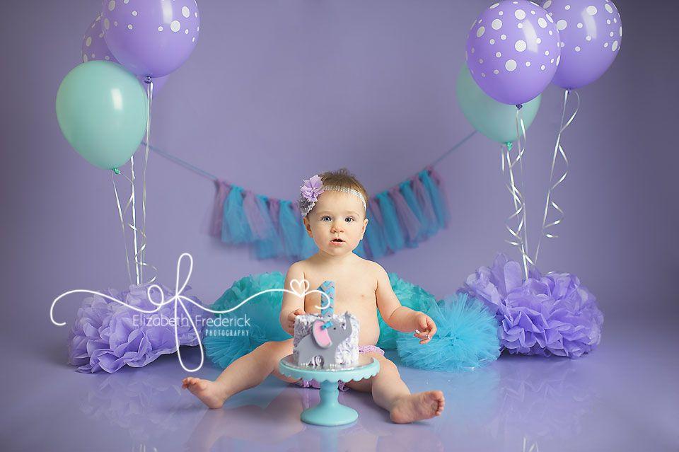 First Birthday Elephant Lavender Aqua Themed Smash Cake CT Smash