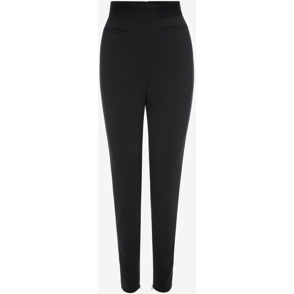 Alexander McQueen Stretch Wool High Waisted Trousers ($765) ❤ liked on Polyvore featuring pants, black, zip pants, high waisted trousers, high-waisted trousers, high-waisted pants and high rise trousers
