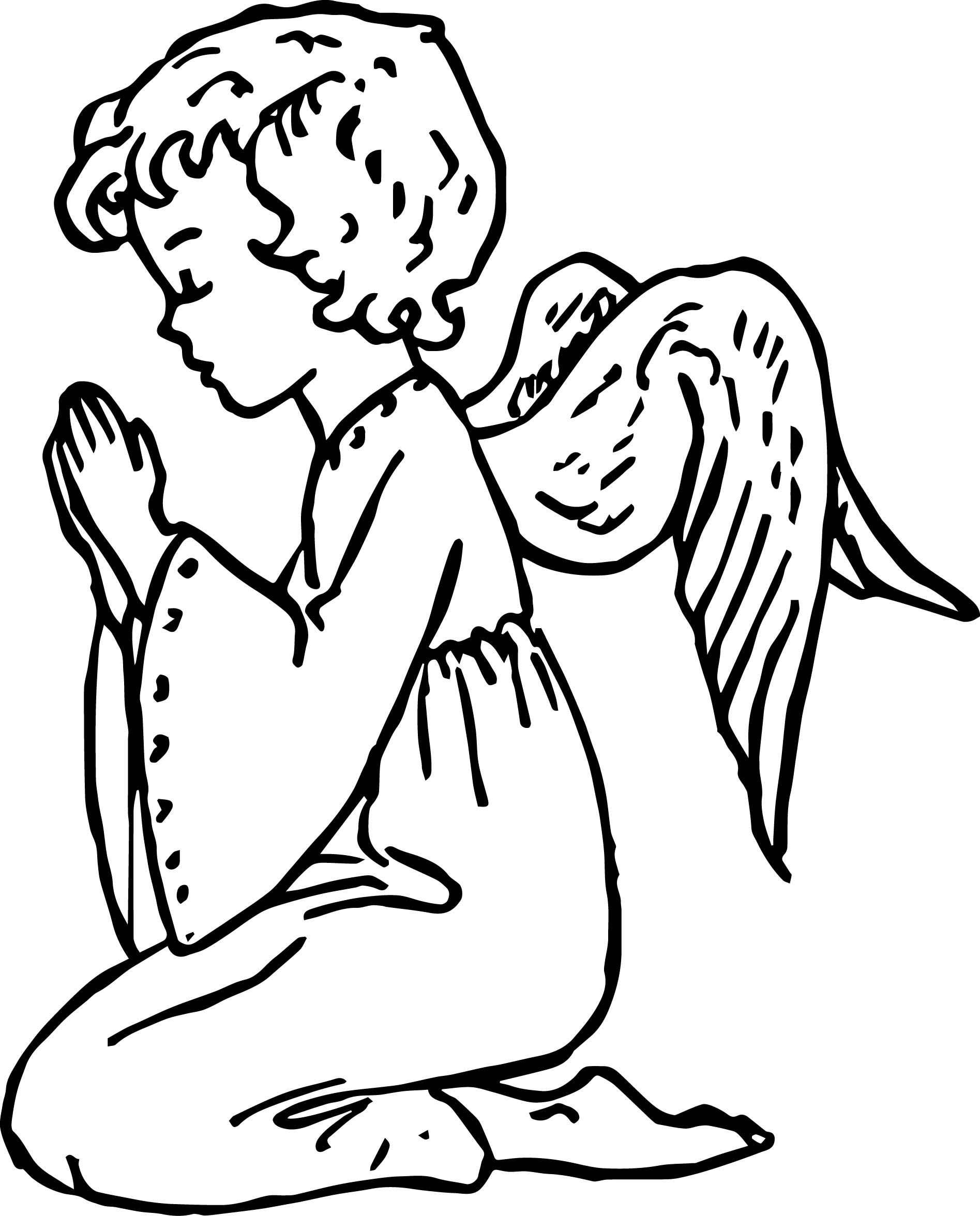 Cool Angel Girl Prayer Coloring Page Bible Coloring Pages