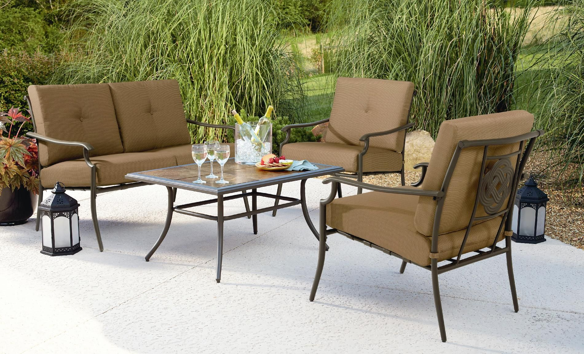 Garden Oasis Emery 4Pc Cushion Seating Set Outdoor