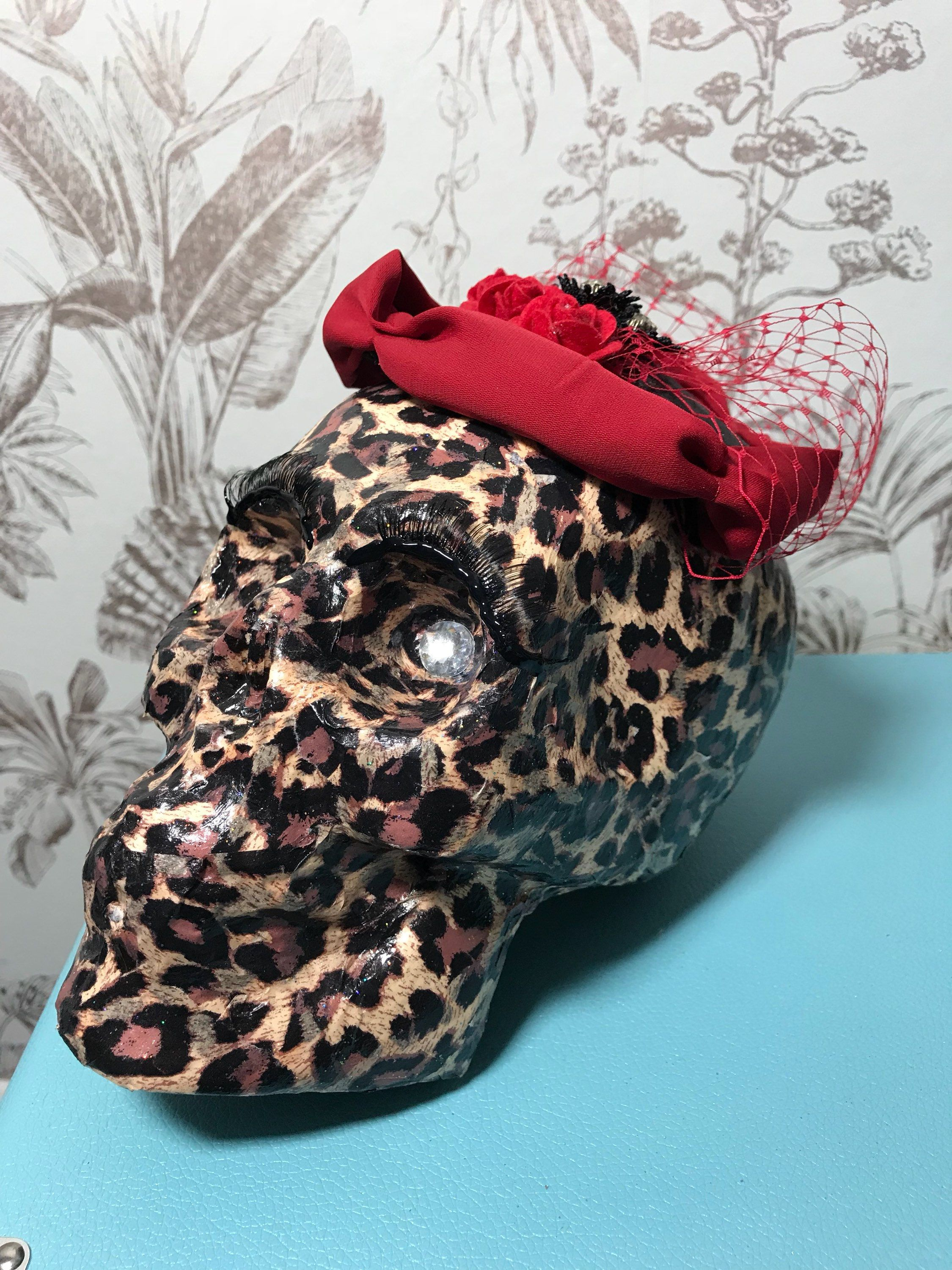 Hand Made Leopard Print Decoupage Skull Oranment With Eyelashes And