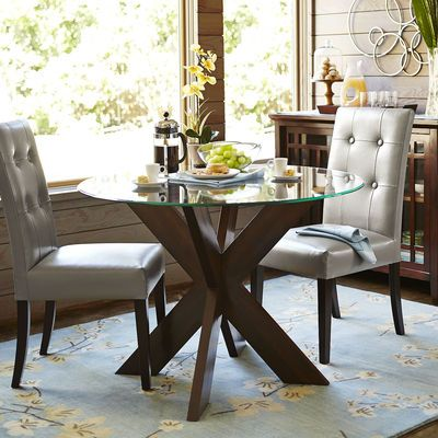 Small Round Glass Dining Table And 2 Chairs