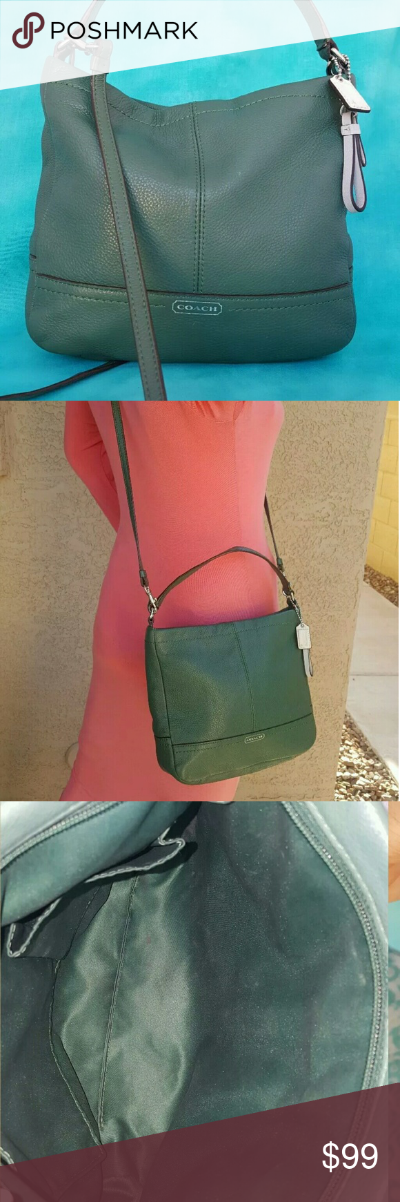 """COACH 49160 PARK MINI DUFFLE CROSSBODY PURSE *darker green pebbled leather  SMALL SIZE   8 x 9"""" *silver hardware  *zip closure  *includes 2 hangtags  *includes crossbody strap  *coach logo stamped on front  CONDITION: BAG IS PREOWNED BUT IN VERY NICE CONDITION INSIDE AND OUT. HANDLES ARE STURDY, ALL ZIPPERS WORK, CLEAN. SUPER CUTE BAG.SMOKE FREE HOME.  *SINCE THIS IS A CROSSBODY MINI STYLE THERE IS NO CREED PATCH. COACH DOES THIS WITH MOST ALL CROSSBODY, MINI BAGUETTES, SWINGPACKS ETC. THE…"""