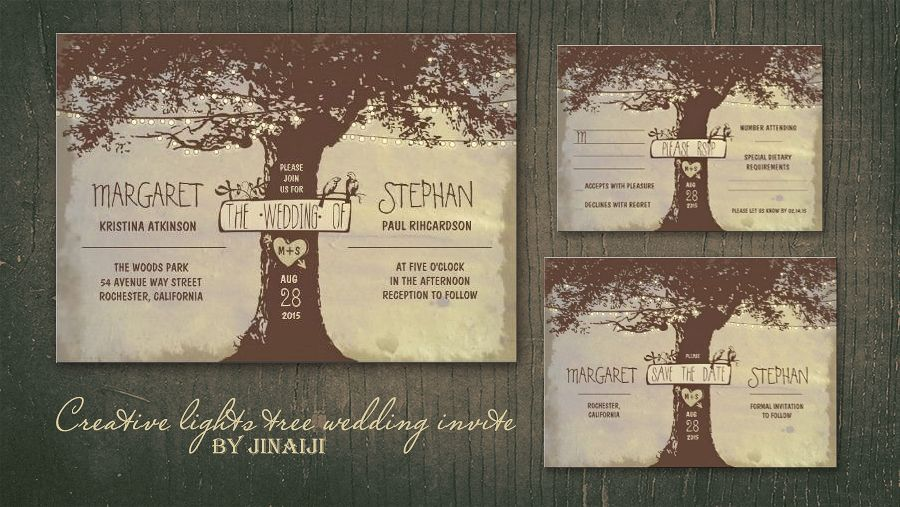 String Lights Tree Rustic Wedding Invitation : read more OLD OAK TREE AND STRING OF LIGHTS WEDDING INVITATIONS Wedding and Party ...