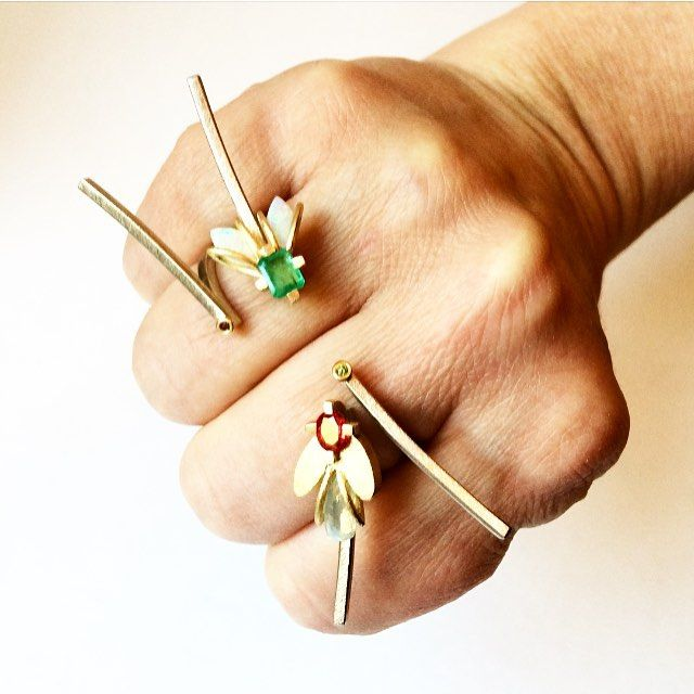 FIREFLIES... #emerald #diamond #ruby #jewellery #goldsmith #danishdesign #delicate #opal #18k #mettevivelsteddelicatejewellery #guldsmed #guldsmedgade #aoa #århus #danishdesign