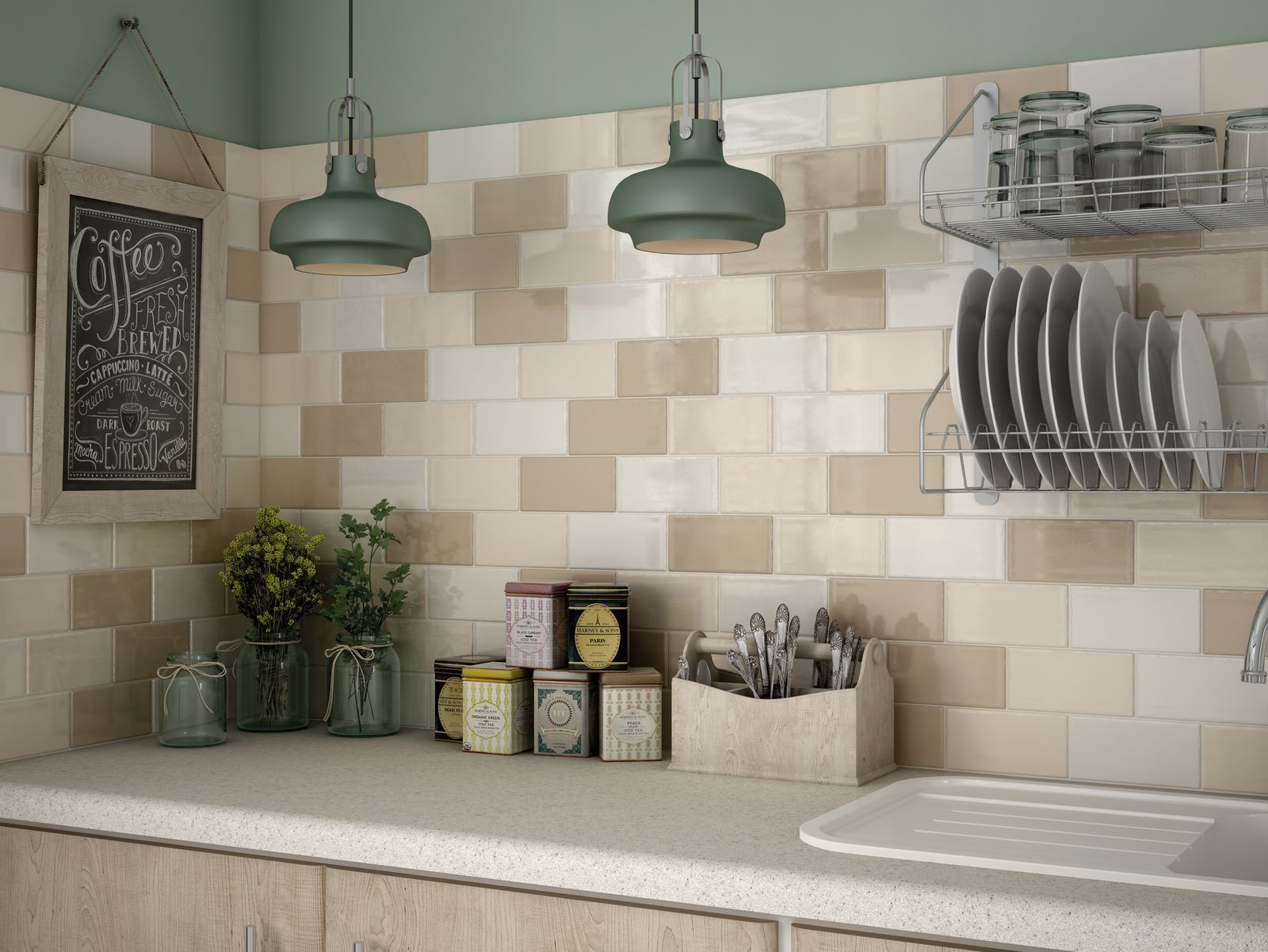 Hampton Beige Brick Tiles Kitchen Kitchen Tiles Kitchen Wall Tiles
