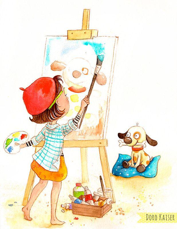 Kinderbilder fürs kinderzimmer katze  Kinderbild, Kinderbuch, Kinderillustration, Bilder für Kinder von ...