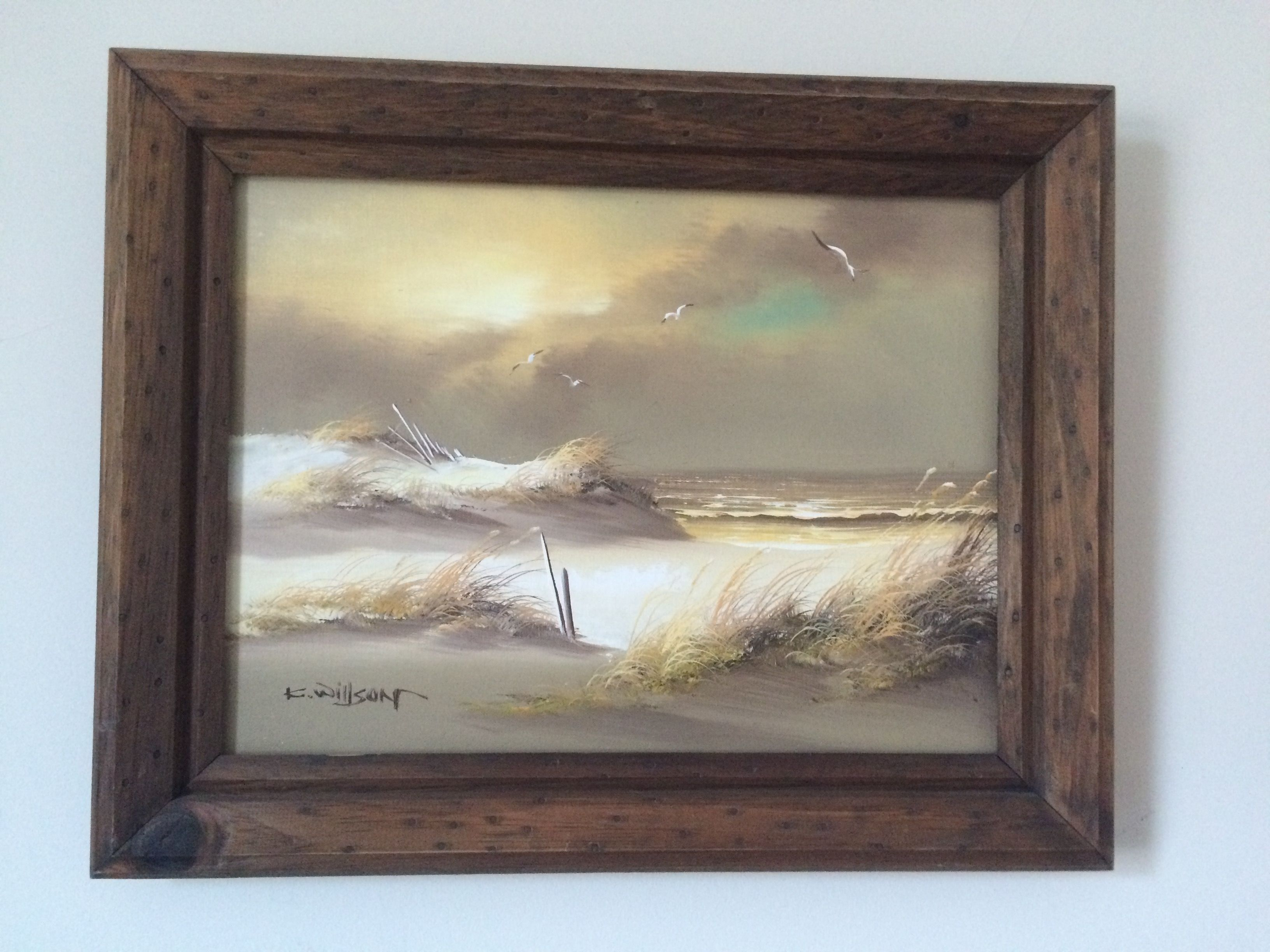 Original Acyrlic On Canvas Seascape Framed Signed By Artist K Wilson Approx 15 5 X 19 75 Including Seascape Paintings Art Painting Painting Prints