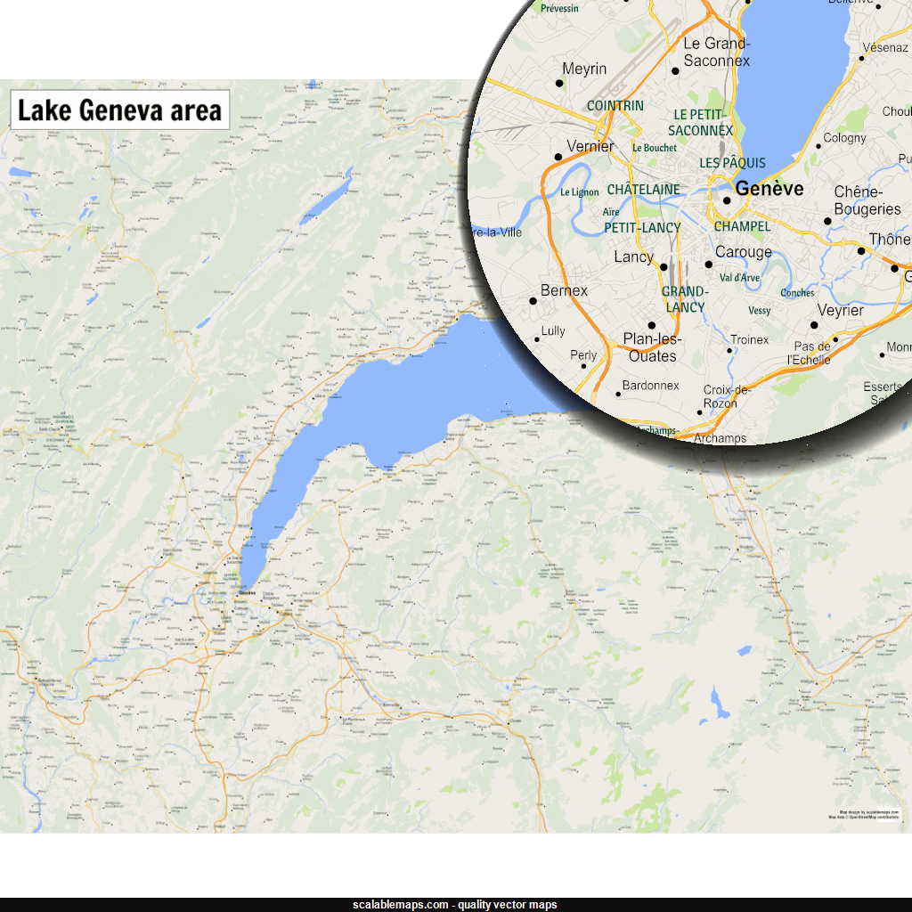 New SVG vector map A map of Lake Geneva with major places and
