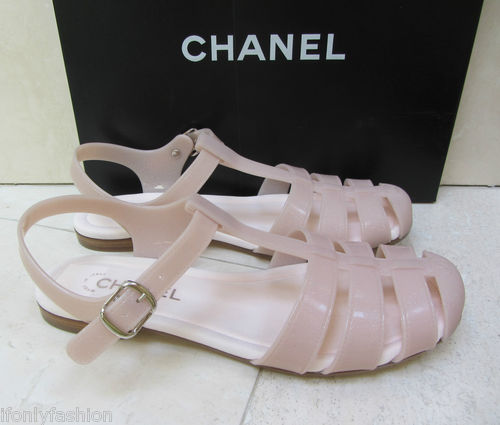 CHANEL Glitter Rose Pink Rubber Jelly Jellies T-strap Flat Sandals Shoes