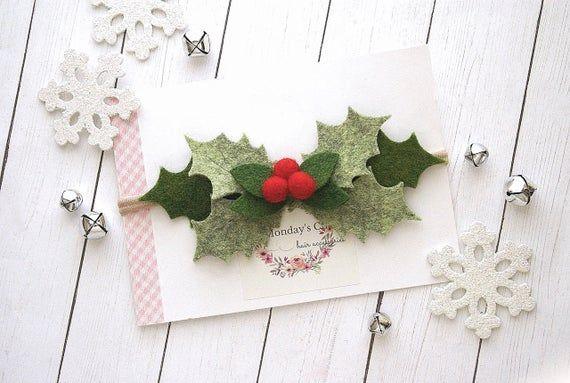 Holly Headband, Christmas Flower Crown, Christmas Baby Headband, Christmas Headband, Felt Flower Hea #feltflowerheadbands