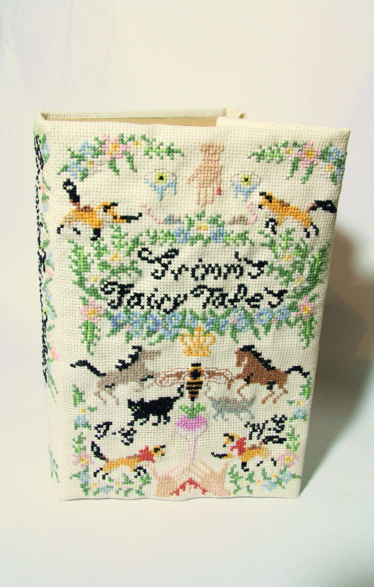 Crossstitched Grimm's Fairy Tales Book Cover  Hannah Ryan