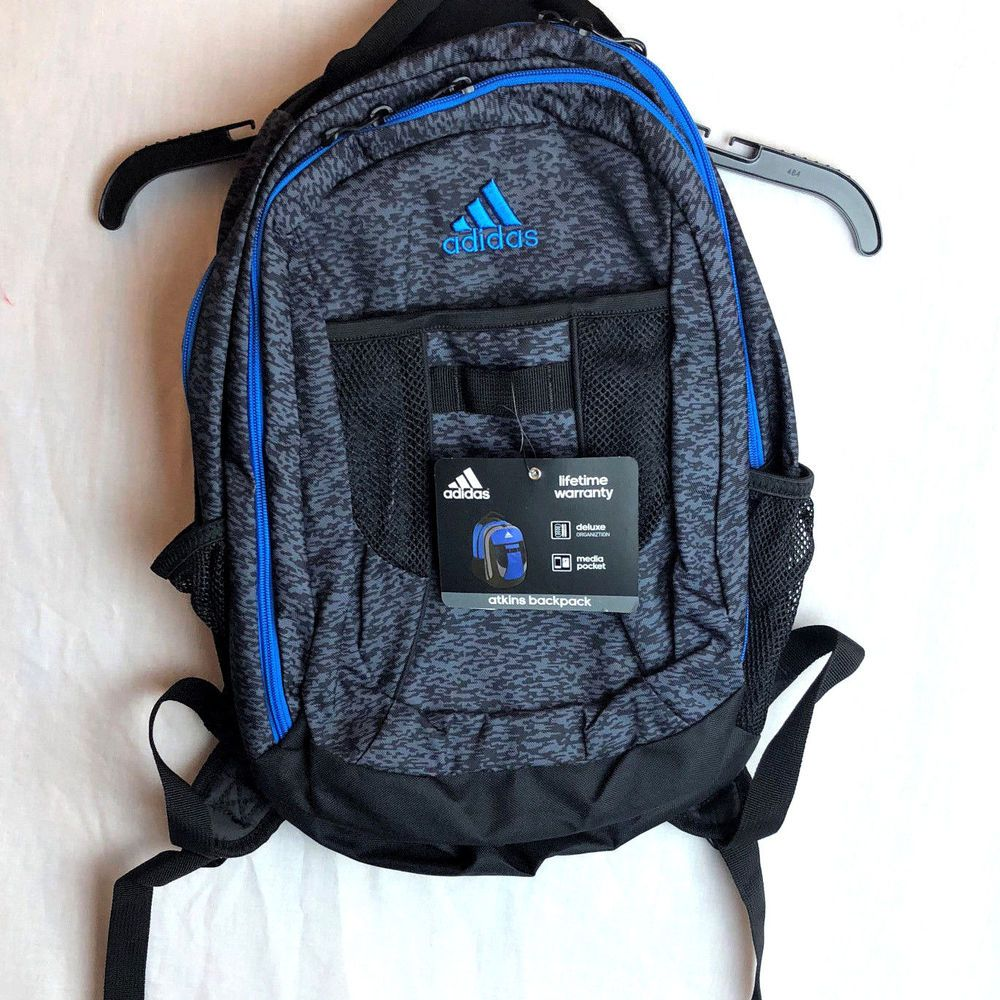 24daf95e92 Adidas Atkins Backpack Gray Blue Medium Large Girls Boys School Media  Pocket New  Adidas  Backpack