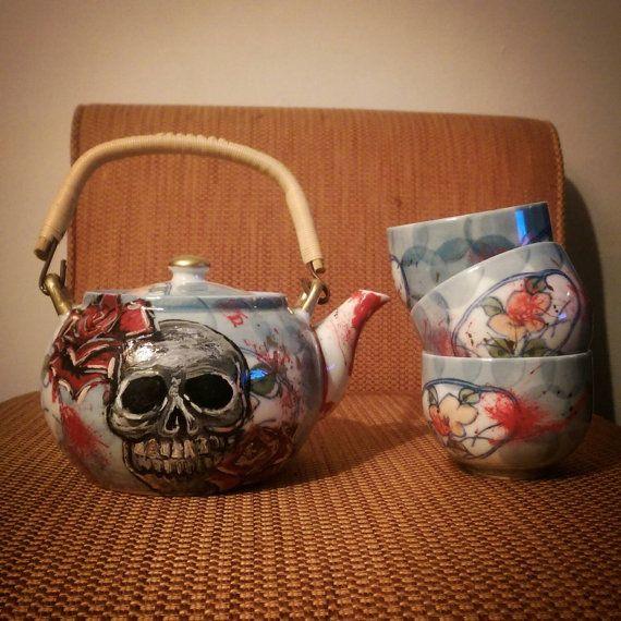 Skull & Roses tea set by AndraTheGeant on Etsy