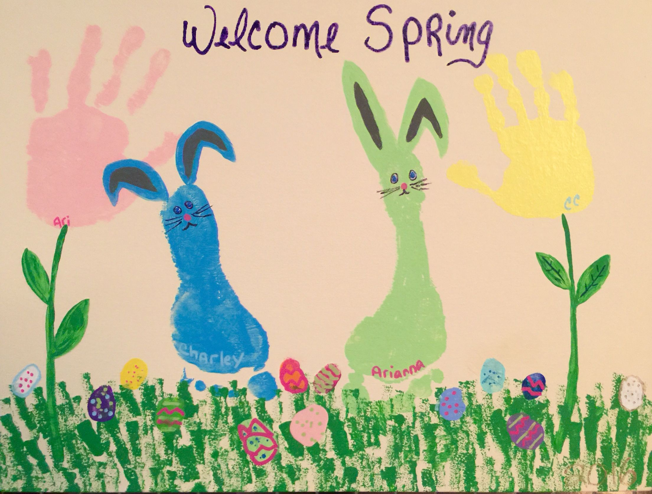 Footprint bunnies, handprint flowers and thumbprint eggs. I did this with my littles. So much fun!