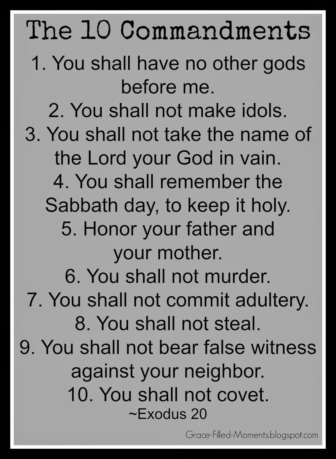 The Ten Commandments List