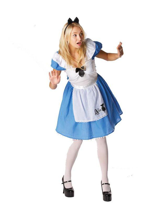 Adult Licensed Disney Alice in Wonderland Fancy Dress Costume Ladies Women BN
