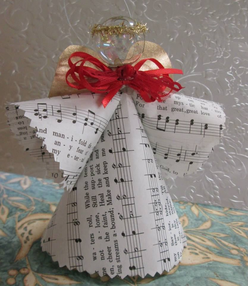 Song Book Angels A Small Glass Ornament For The Head Music Sheets Or Old Song Book Pages Wings Diy Christmas Angel Ornaments Hymnal Crafts Christmas Angels