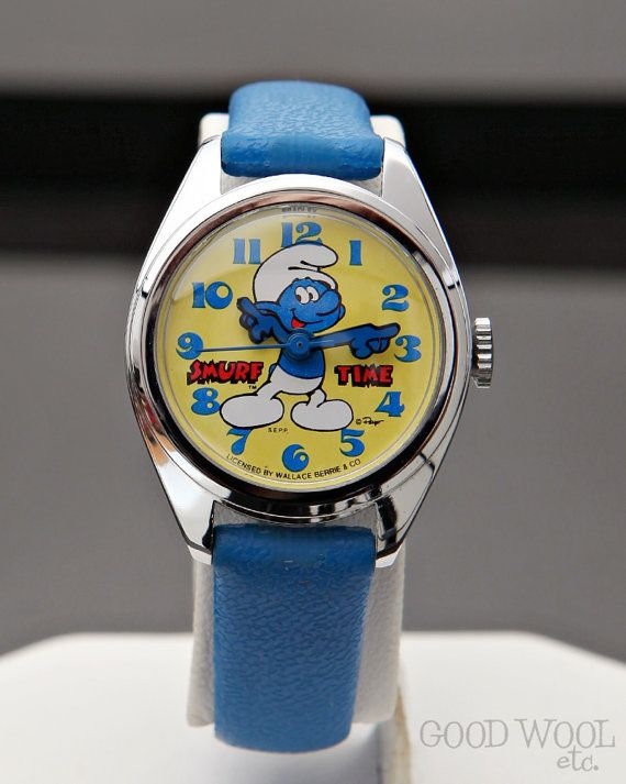 Vintage 1980s Bradley Smurf Character Watch Smurf By Goodwooletc