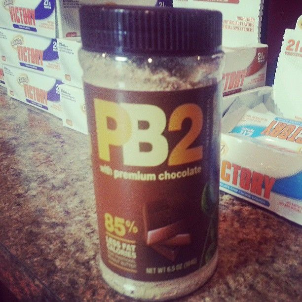 Chocolate PB2 back in stock! 25% less calories than real peanut butter. Add to your shake or favorite recipes.
