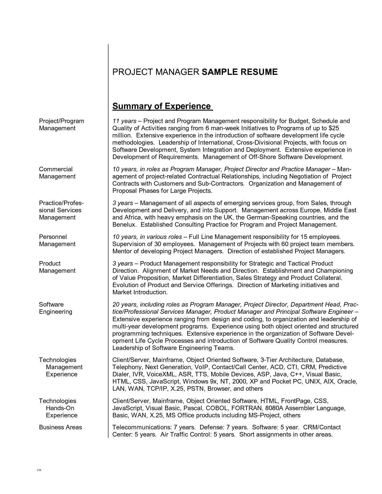 resume synopsis example - Examples Of Summary For Resume