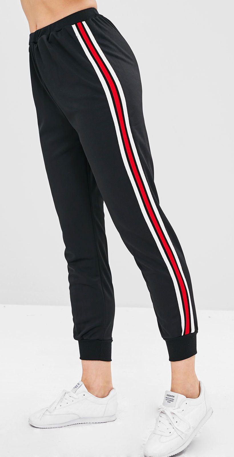 High Waisted Striped Sports Pants BLACK