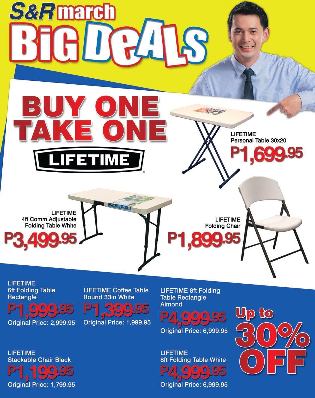 S R Membership Shopping Sale March 12 April 6 Lifetime Tables