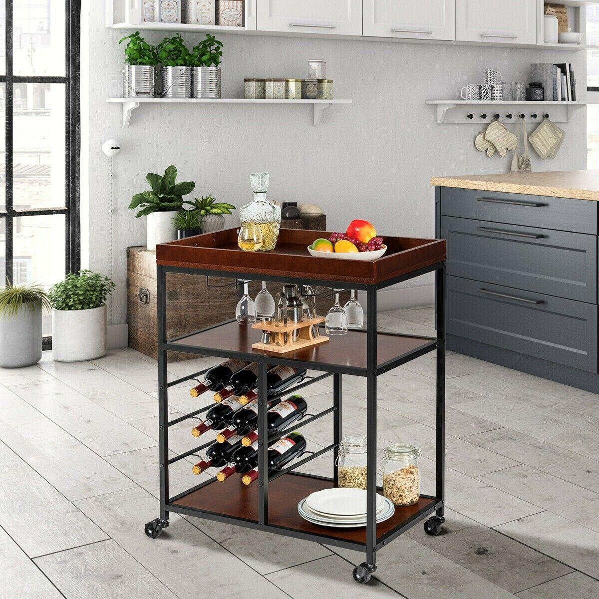 Pin On Shelf Display Kitchen cart with wine rack