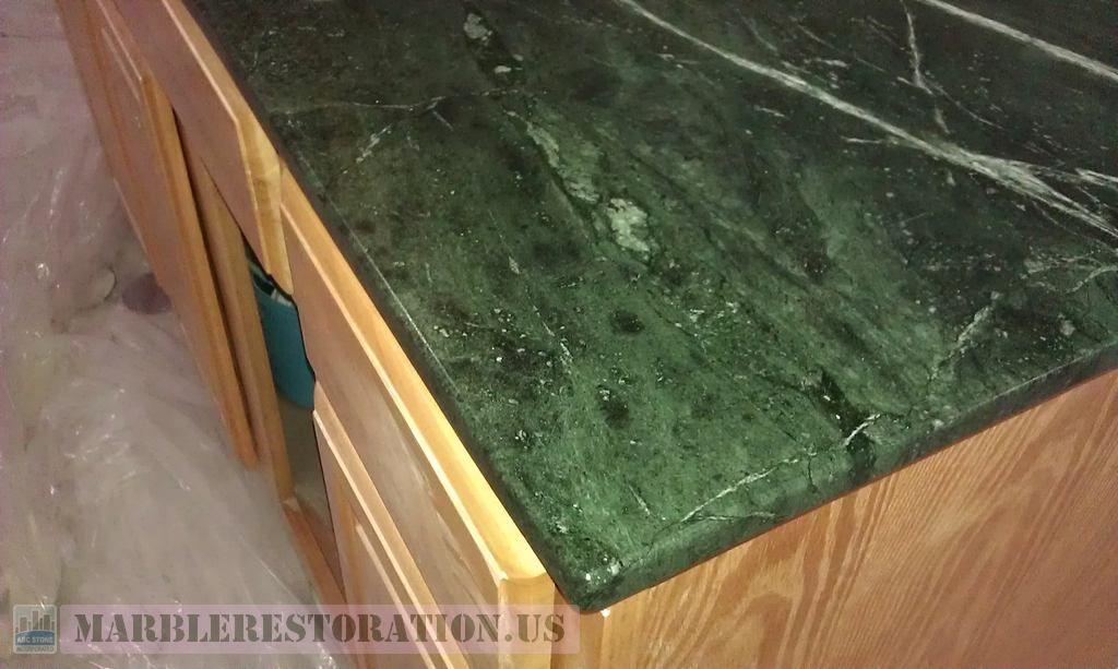 Edging On Green Serpentine Mini Countertop Marble Restoration