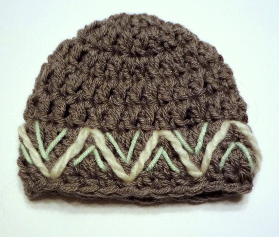 Chunky Newborn crochet hat. Gray, white, green embroidered chevron ...
