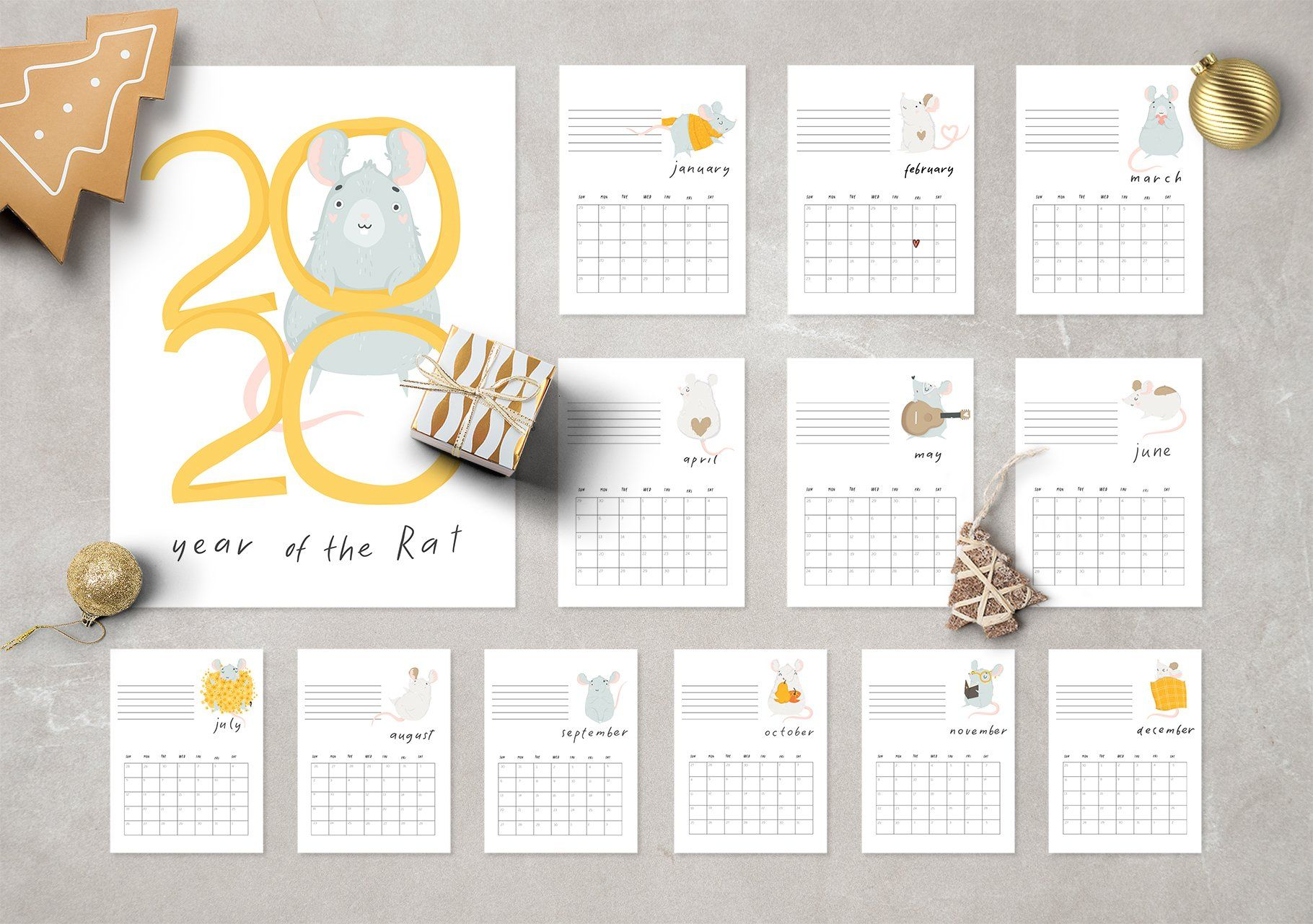 Cute Rat New Year 2020 Calendar Calendar Design Template Printable Calendar 2020 New Year 2020