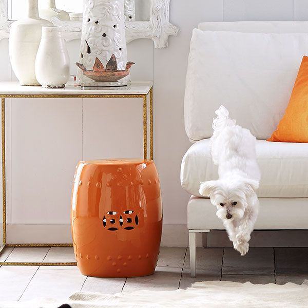 Wisteria - Furniture - Shop by Category - Poufs & Stools - Chinese Garden Stool - Poppy
