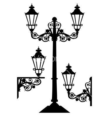 Antique Street Lights Vector Image On Vectorstock Street Light Victorian Street Street Lamp