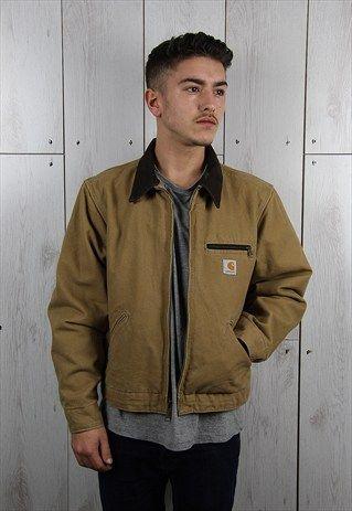 20ecccf9 Vintage 1980s Tan Brown CARHARTT Classic Workers Jacket (S ...
