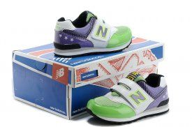 New Balance 574 kids shoes green / purple