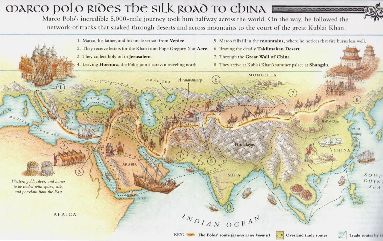 Marco Polo's journey to China. | Silk road map, Marco polo ... on marco polo china route map, marco polo's expeditions map, big marco polo travel map, trans saharan trade route map, ancient silk road route map, christopher columbus voyage route map, silk road trade route map, marco polo's route on a map, marco polo trade route map,