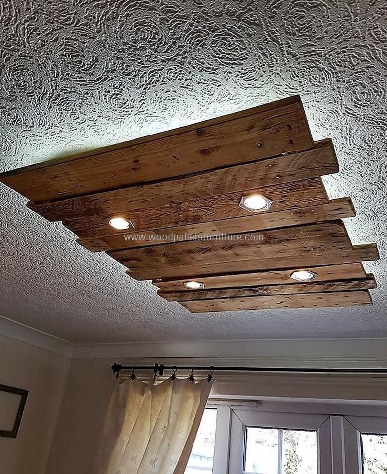Wood Pallets Wall And Roof Lighting Art  The builtin lights look amazing in the TV launch but every other home contains them so here we a