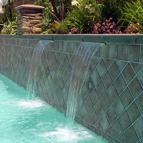 Jandy sheer descent waterfalls produce a clear arc of water that projects from you pool s wall - Arc swimming pool ...