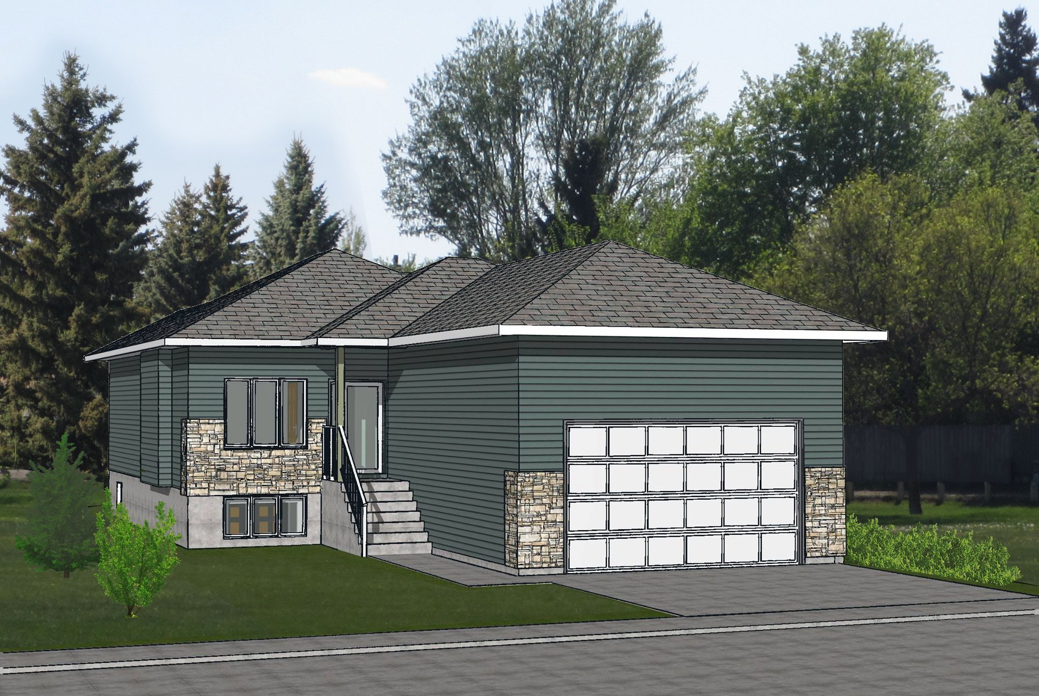 3D RENDERINGS Raised Bungalow Home with side-entry bat ... on