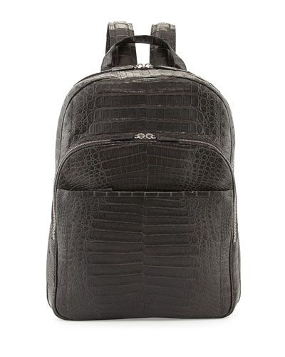 N2PL9 Santiago Gonzalez Caiman Crocodile Backpack, Charcoal Gray