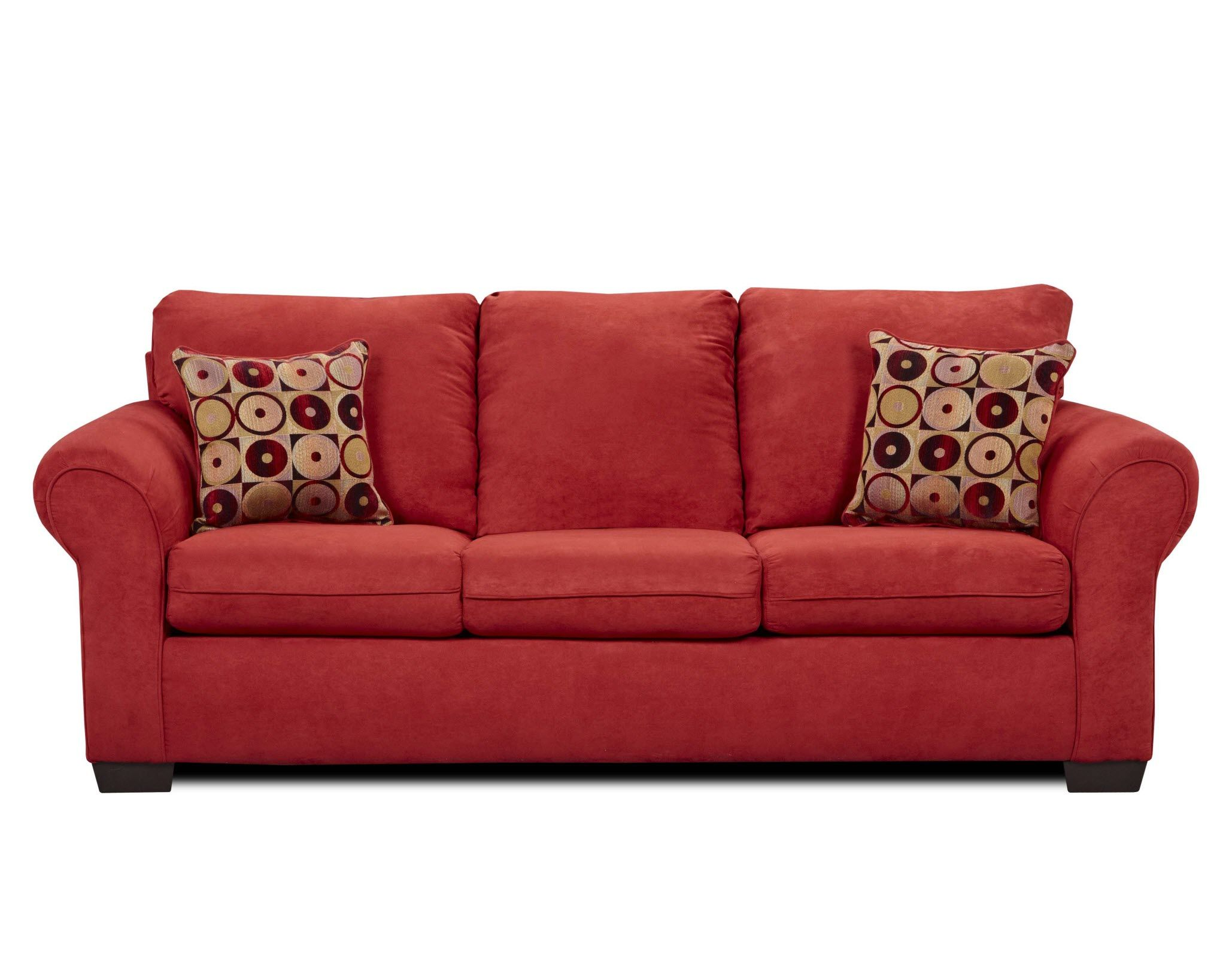 Fabric Red Sofa Sets Attached Back Si 1640red 1640 Simmons Flat Suede And Loveseat