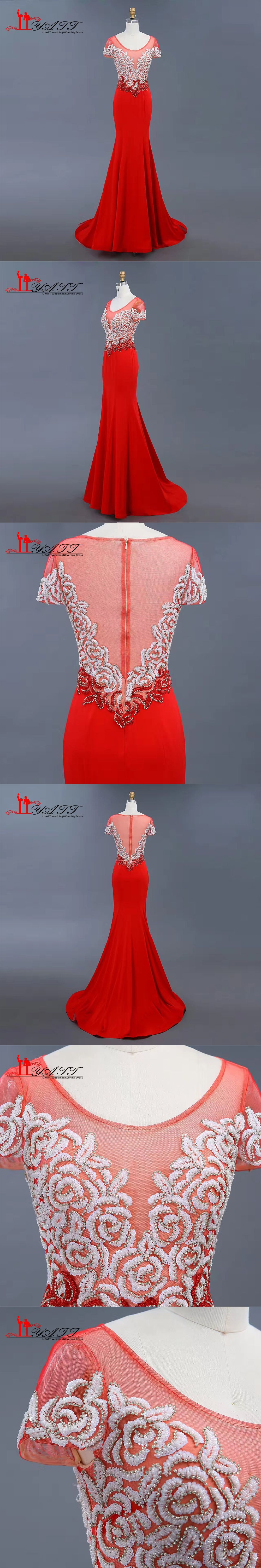 new arrival red sexy mermaid rose flower elegant evening prom
