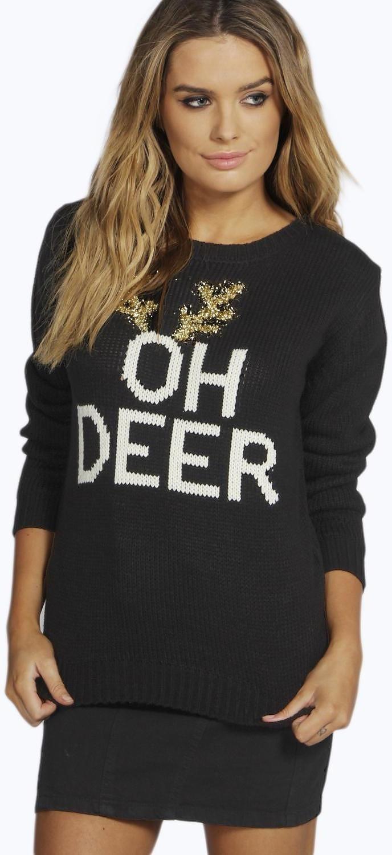 Womens black oh deer christmas jumper from boohoo.com - £18 at ...