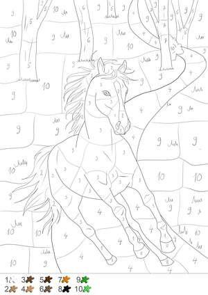 Pferd - Malen nach Zahlen | Coloring pages | Pinterest | Number ...