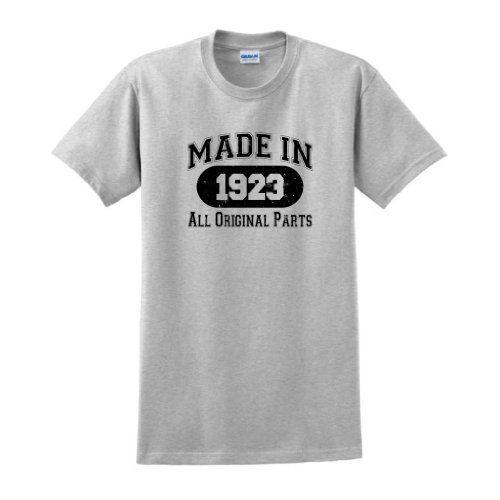 Made In 1923 All Original Parts Funny 90th Birthday T Shirt Medium Ash
