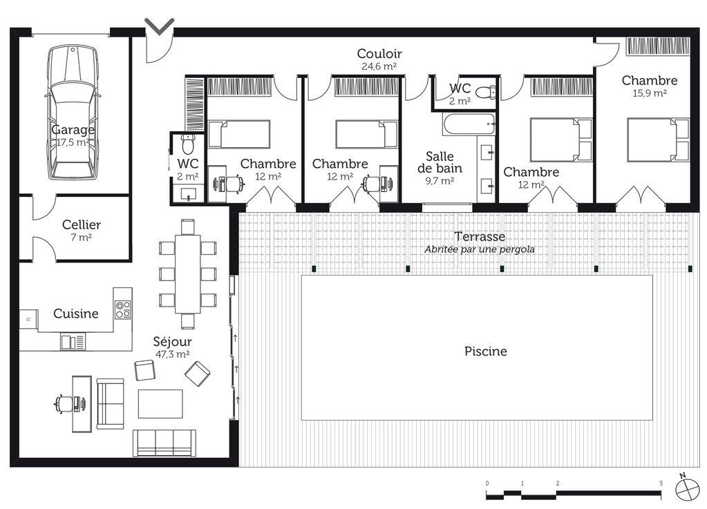 Construction Maison Construction Maison Sommaire Haut Plan De Maison Avec 4 Chambres Et Garage Concu Par L En 2020 Plan De Maison Gratuit Plan Maison Etage Plan Maison